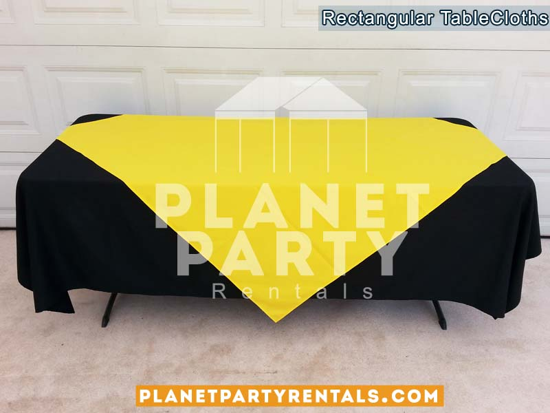 Black Tablecloth Rectangular Table 007