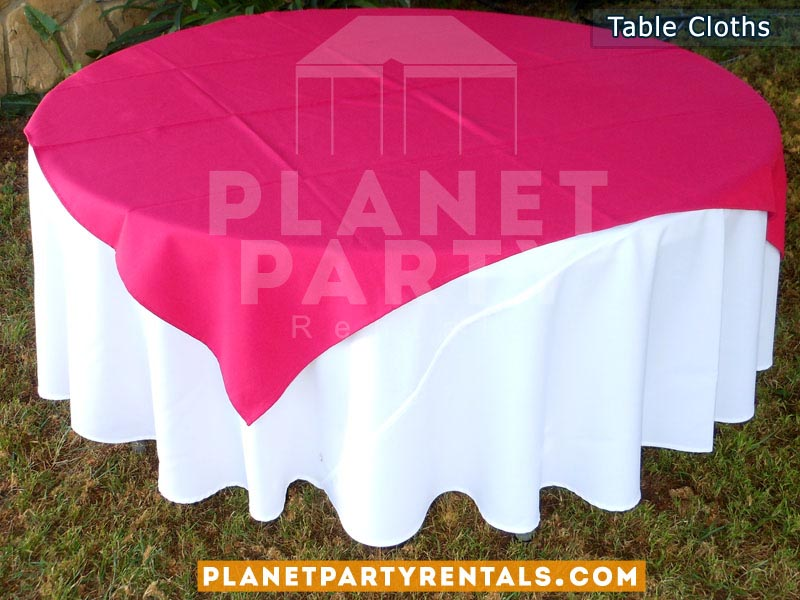 White Round Tablecloth With Runner Overlay 003