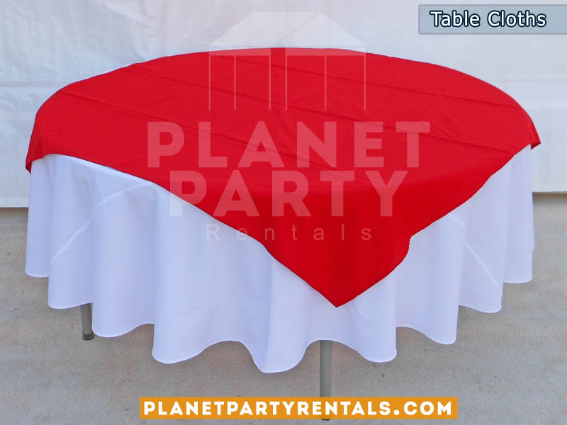 Table Cloth Rentals | Round White and Black Table Cloths | Diamond / Runners available for Rent