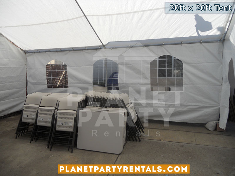 20feet by 20feet Tent Canopy | Party Tent with Tables and Chairs | Tent Packages Available | San Fernando Valley Party Rentals | Party Supplies