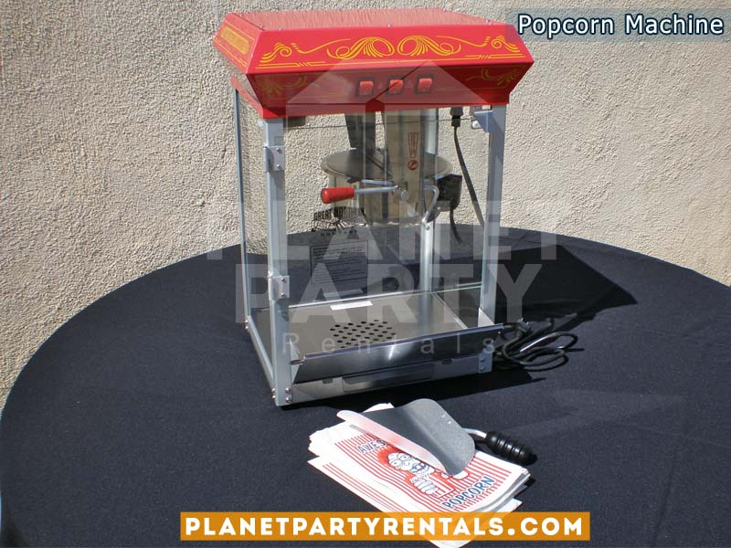 Popcorn Machine rentals includes popcorn kernels and butter | concession rentals san fernando valley | party rentals