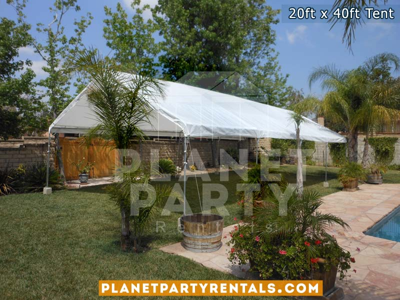 20ft x 40ft white party tent on grass