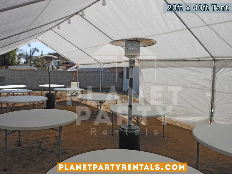 20ft x 40ft tent with sidewalls and round white tables
