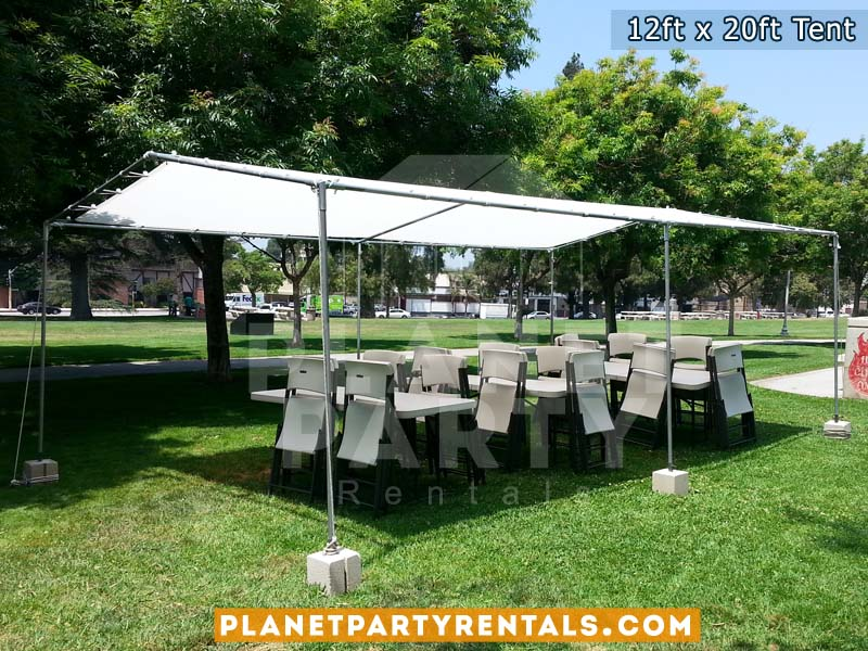 White 12ft x 20ft Tent with rectangular and tables | San Fernando Valley Party Tent Rentals