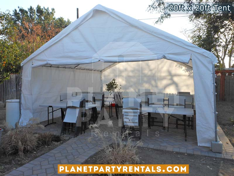 20ft x 20ft white tent with rectangular tables and chairs