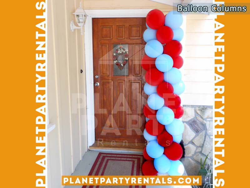 Balloon Columns Red and Blue Balloons | Balloon Decorations San Fernando Valley
