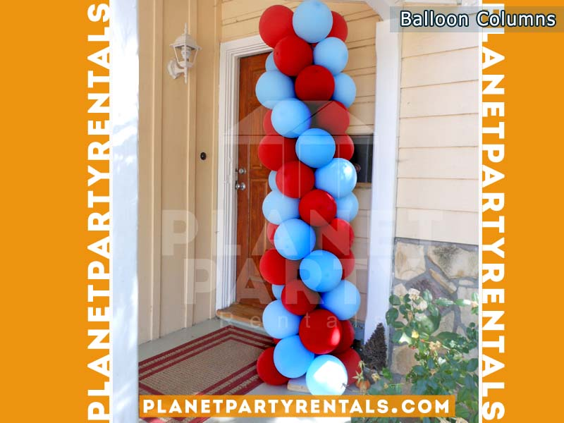 Balloon Decorations, Columns, Arches | Balloon Column with Red and White Balloons |San Fernando Valley Balloon Decorations