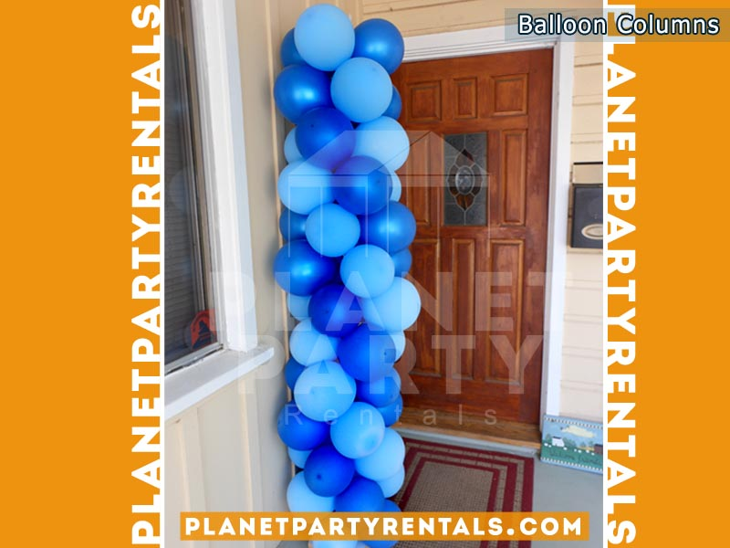 Balloon Decorations, Columns, Arches | Balloon Column with Dark Blue and Blue Balloons |San Fernando Valley Balloon Decorations