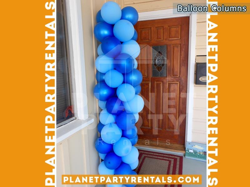 Balloon Decorations, Columns, Arches | Balloon Column with Dark Blue and Blue Balloons |San Fernando Valley Balloon Decorations