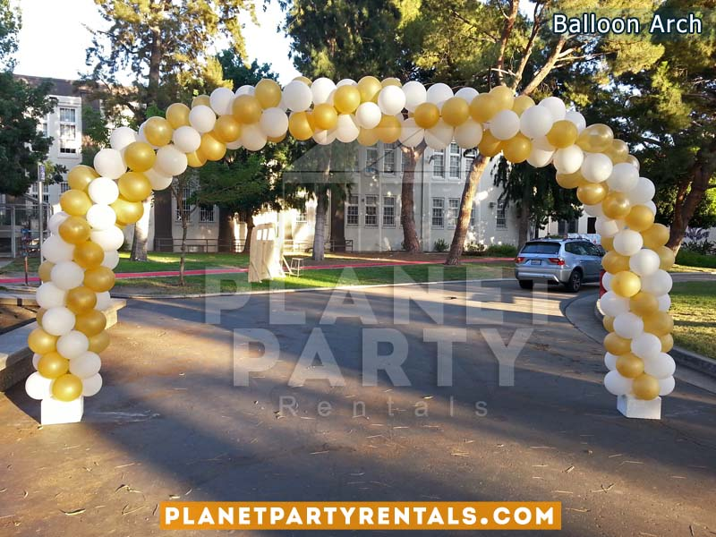 16ft Balloon Arch Spiral with Gold and White Balloons | Balloon Decorations
