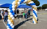 12ft Balloon Arch with Blue, Gold and White Balloons
