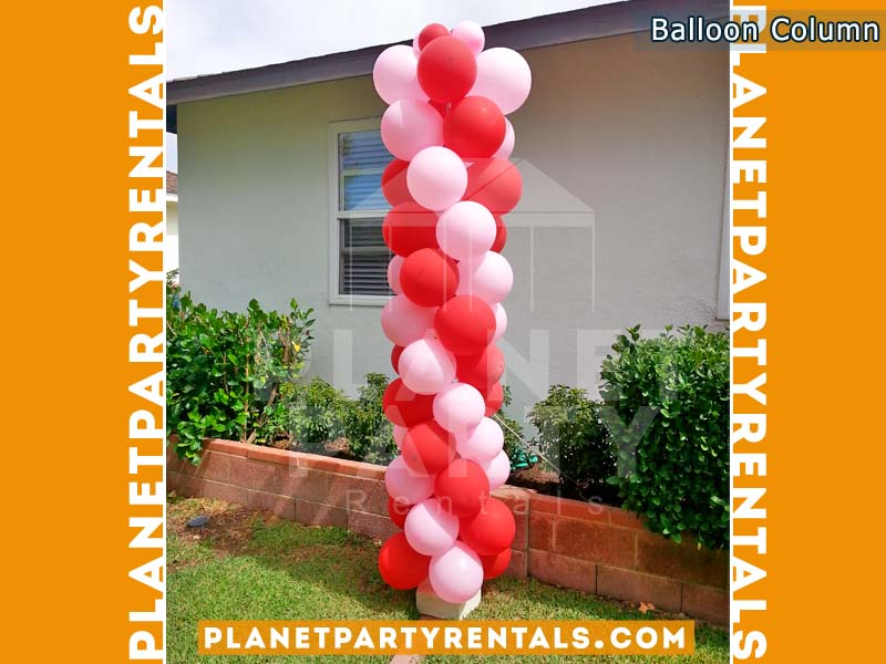 Balloon Column/Tower with Red and Pink Balloons
