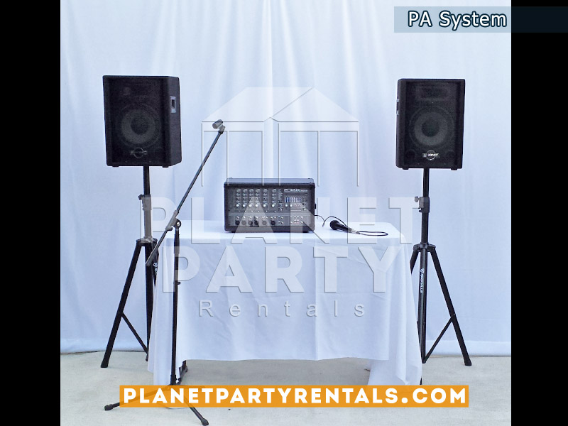 PA System with speakers and microphone