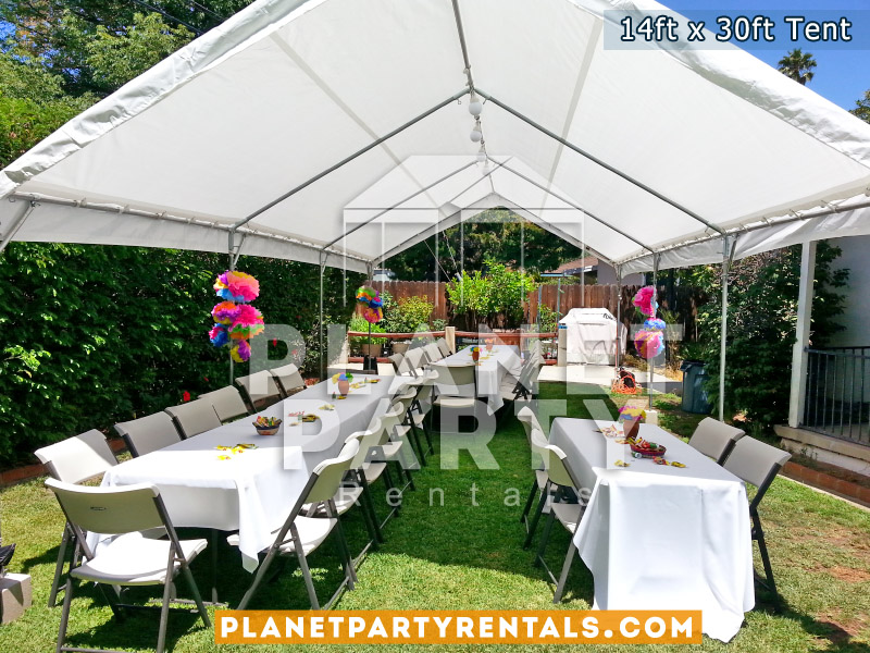 14ft x 30ft Tent with plastic chairs and rectangular tables with tablecloths
