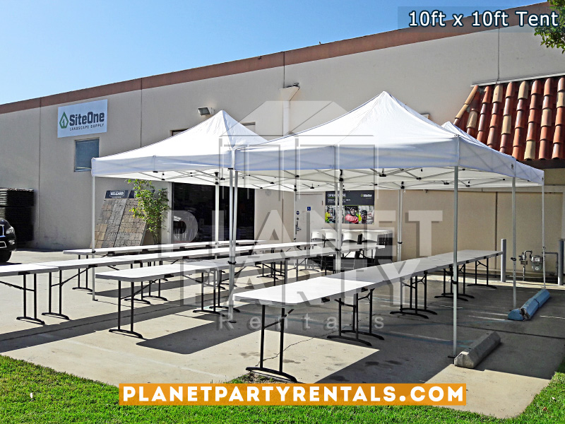 10ft x 10ft Tent with rectangular tables