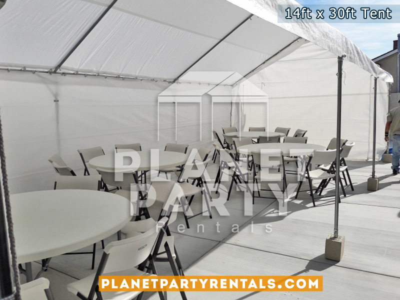14ft x 30ft Tent with plastic chairs and round tables