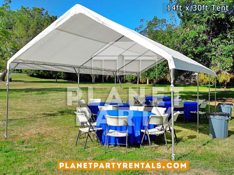 14ft x 30ft Tent with plastic chairs and round tables with blue tablecloths