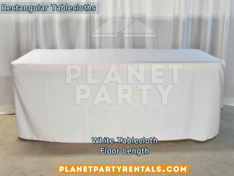 Rectangular Tablecloth White Floor Length