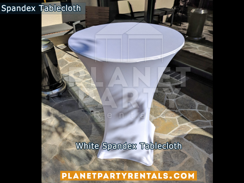 Spandex Tablecloth White on Cocktail Table