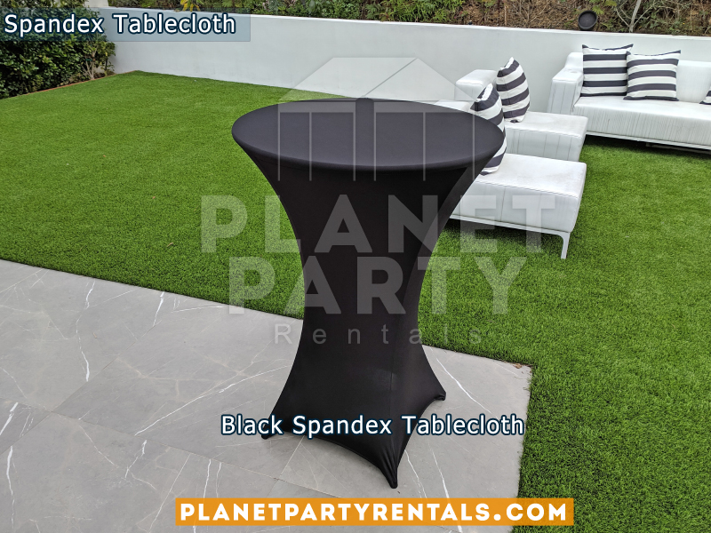 Spandex Tablecloth Black on Cocktail Table