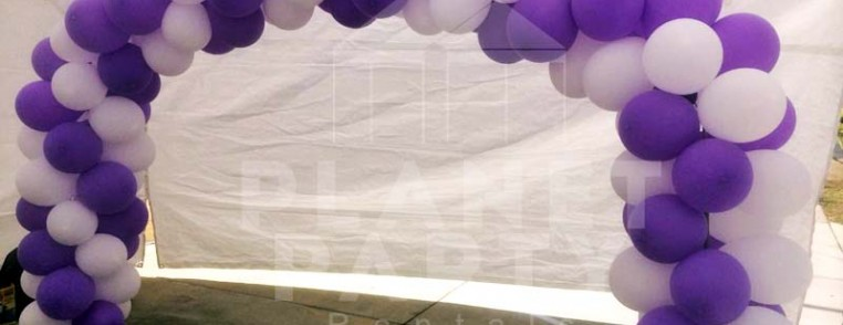 Balloon Arch with Purple and White Balloons | San Fernando Valley Balloon Decorations